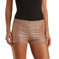 Metallic Scalloped High-Waisted Shorts by Charlotte Russe - Gold I