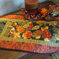 Fall Quilted Table Runner Birds and Pine Sprigs Handmade Home Decor