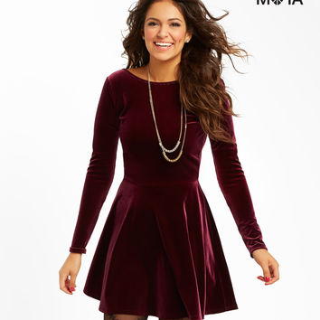 Aeropostale  Solid Velvet Dress