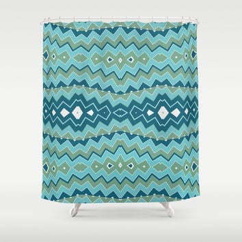 Tribal Seascape Shower Curtain by Webgrrl