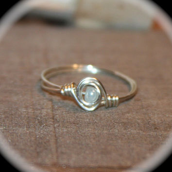 Opalescent Wire Wrapped Ring - blue Ring -  Thin Ring -  Midi Ring - knuckle Stacking Ring - jewelry handmade