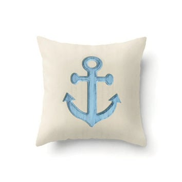Throw Pillow Cover of Rustic Blue Anchor on sand colored background, indoor or outdoor in 16 x 16, 18 x 18 or 20 x 20 inch, nautical decor