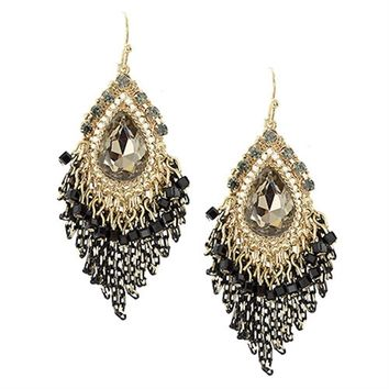 HauteChicWebstore Teardrop Stone Chain Tassel Drop Earring in Black at www.shophcw.com