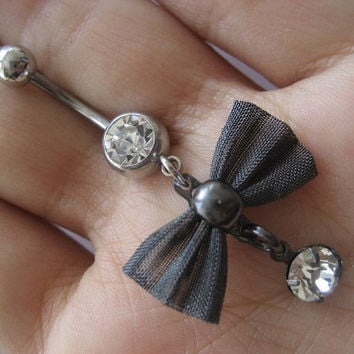 Bow belly button ring navel jewelry from azeeta designs for Belly button jewelry store