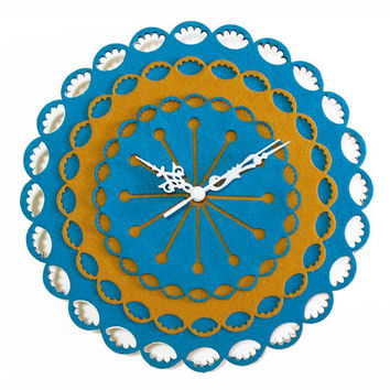 Doily Decor Clock - Wooden Wall Clock - Turquoise Home Decor - Laser Cut Wall Decor