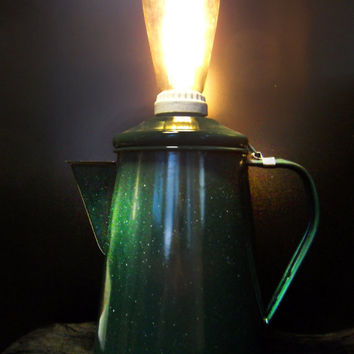 extraordinary green enamel pitcher lamp