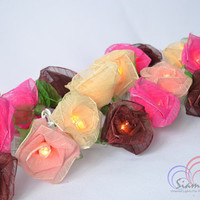 Rose Fairy String Lights Old Pink tone Flower Lights For Bedroom and Wedding Decoration 20 Lights /Set