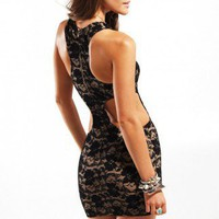 One Rad Girl Vivian Lace Racerback Cutout Dress in Black