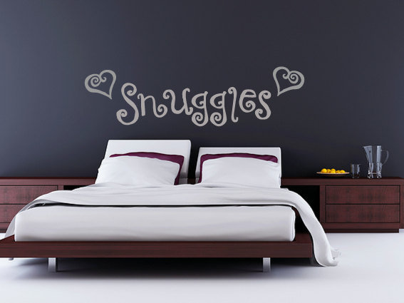 Snuggles bedroom wall sticker decal romantic wedding present gift idea