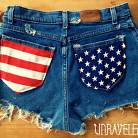 SALE HighWaisted Shorts, American Flag (Size MEDIUM)