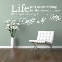 Dance in the raim wall quote sticker motivational interior design decal