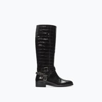 Embossed leather boot