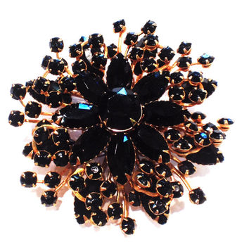 Vintage Black Rhinestone Brooch, Flower or Starburst, Goldtone Setting, 1960s