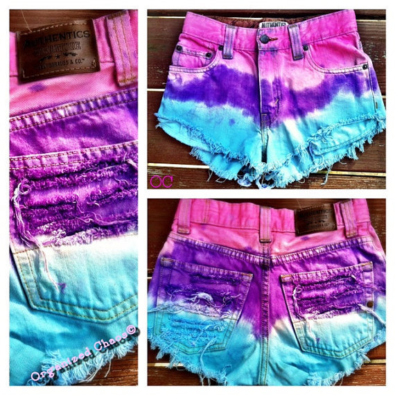 Pink Violet and Turquoise Dip Dyed High Waist Distressed Denim Shorts