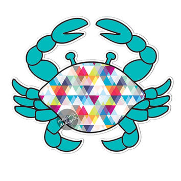 Teal Crab Car Decal Colorful Geometric Triangle Pattern Blue Pink Beach Cute Car Decal Laptop Decal Wall Decal Bumper Sticker Ocean Nautical