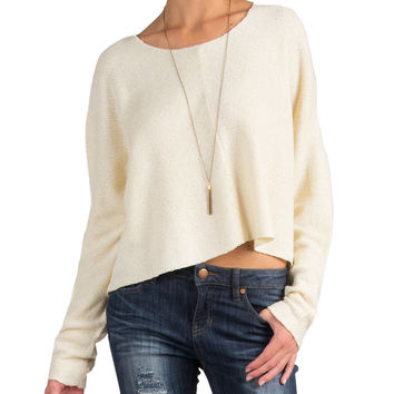 Lush Clothing - Comfy Cropped Sweater - Large - Cream /