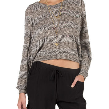 Blended Stripe Cropped Sweater - Black/Cream /