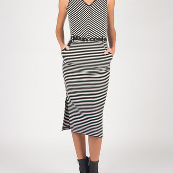 Double Strapped Stripey Belted Dress - Black/White /