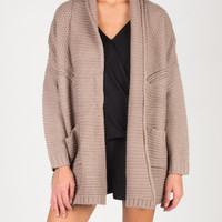 All About Warmth Two Pocket Knitted Cardigan - Mauve - Mauve /