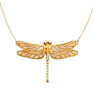 Handmade Dragonfly Necklace - Gold Jewelry - Statement - One of a Kind Jewelry - FREE SHIPPING