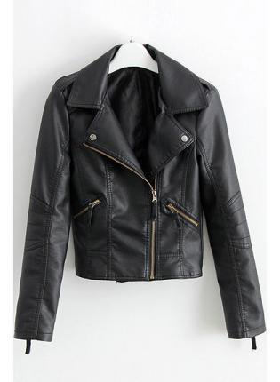 Black Zipper Cropped Biker Jacket