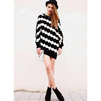 Black and White Hand Knit Sweater Dress