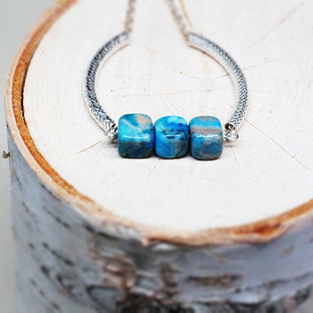 Blue Cube Geometric Necklace Textured Silver Tube Bar Necklace, Curved Tube Bar Necklace, Layering Bar Necklace, Simple Everyday Jewelry