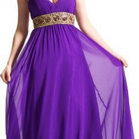 Greek Goddess Chiffon Starburst Beaded Full Length Gown Prom Dress Junior Plus Size