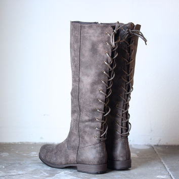laced up weathered riding boots , taupe suede faux fur urban gypsy boho fall winter women's boots boot shoe shoes grey brown weathered