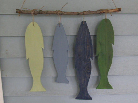 Reclaimed wood Fence Fish Wall Hanging. Custom Made. Rustic Lake Decor. Made to Order