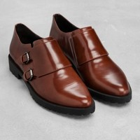 & Other Stories | Monk Strap Leather Shoes | Dark Brown