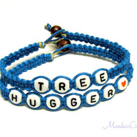 Turquoise Tree Hugger Bracelets, Set of Two, Handmade Hemp Jewelry