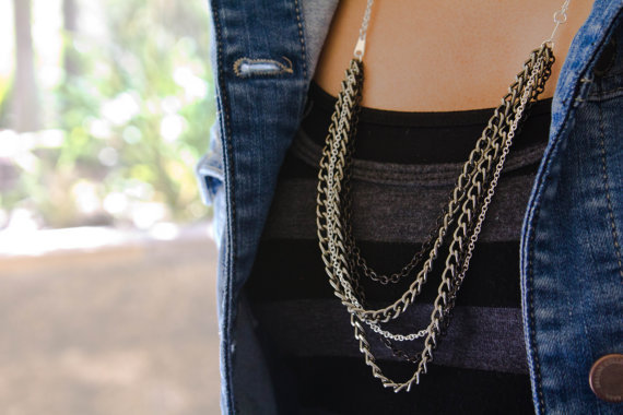 Drape Necklace with silver, gunmetal, and black chains: Olivia