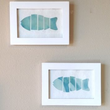 Painting of Fish, Two, Abstract Fish is Seaside Colors, 5x7 Framed