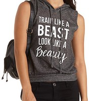 Marled Graphic Sleeveless Hoodie by Charlotte Russe - Gray