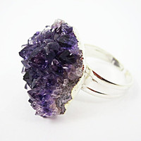 AMETHYST RING With Sterling Silver Plated, Fashion, Purple Accessory, For Gift