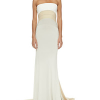 Donna Karan Strapless Tri-Color Evening Gown