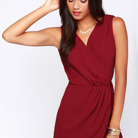 Rapt Attention Wine Red Wrap Dress