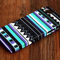 Aztec Blue Geometric iPhone 6 Plus/6/5S/5C/5/4S/4 Wrap Case #113 - iPhone