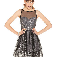 Ruby Rox Juniors Dress, Sleeveless Mesh Paillettes - Juniors Dresses - Macy&#x27;s