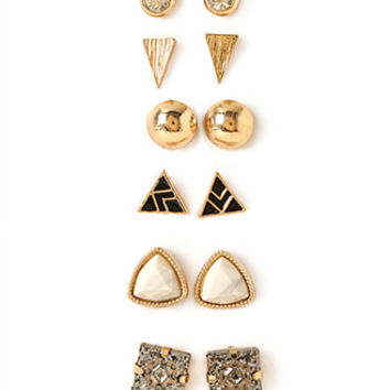 FOREVER 21 Faux Stone Earring Set Gold/Dark Grey One