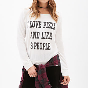 FOREVER 21 Love Pizza & People Top Cream/Black