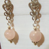 Earrings Sterling Silver and Rose Quartz Magic Jewelry