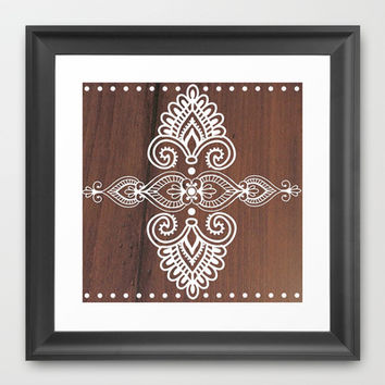 White Henna on Wood Framed Art Print by KJ53321 | Society6