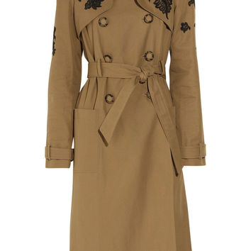Erdem | Leta lace-appliqué twill trench coat | NET-A-PORTER.COM