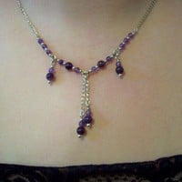 Necklace and Earrings Set Sterling Silver and Amethyst 3 Pieces of Magic Jewelry