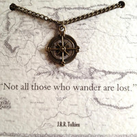Tolkien Quote Necklace &quot;Not all those who wander are lost&quot; Compass Charm Lord of the Rings