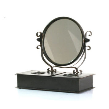 Jewelry box & mirror, antique make-up mirror, vintage mirror and chest