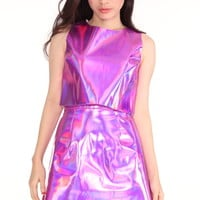 Glitters For Dinner — Made To Order - Pink Holographic 2 Piece Motel Set