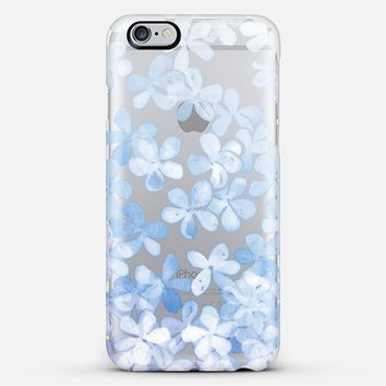 Plumbago Blossoms - pastel blue & white painted floral on transparent iPhone 6 case by Micklyn Le Feuvre   Casetify
